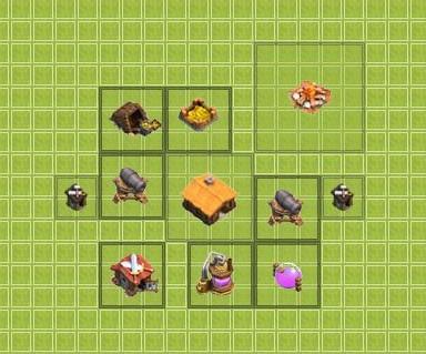 clash of clans расстановка базы ратуша 1-го уровня