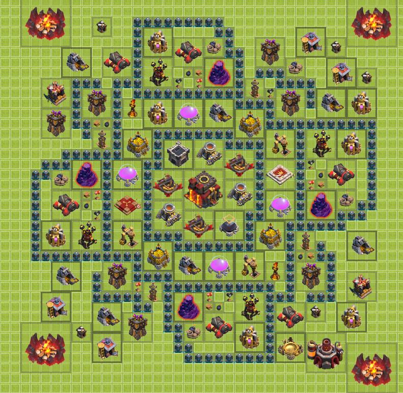 clash of clans расстановка th10 для кубков