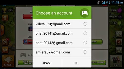 несколько аккаунтов для Google clash of clans