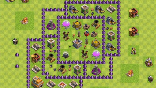 Выбирайте расстановки на кв для ратуши 7 уровня игры clash of clans.