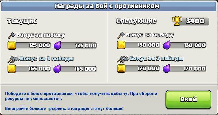 Увеличены награды за бой с противником